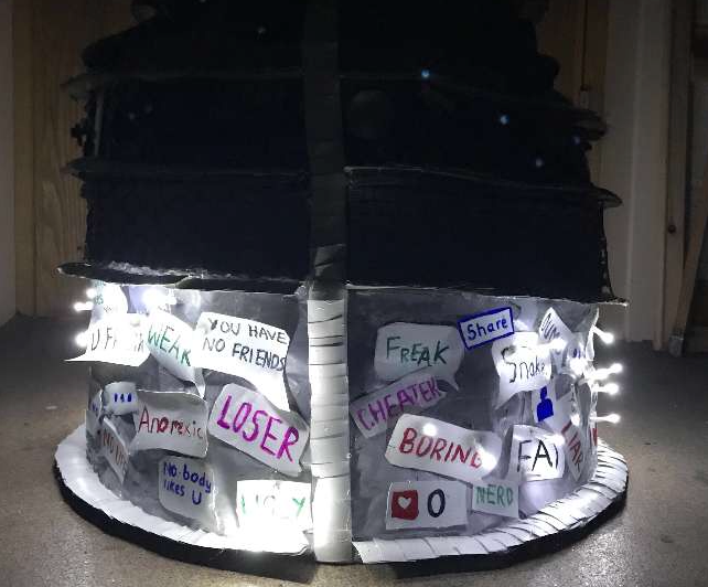 Image - the skirt base shows words that are used in cyberbullying